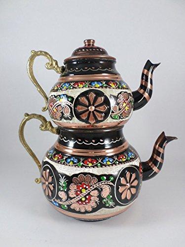 (Grandbazaarshopping Copper Turkish Tea Maker, Samovar, Artisan Handmade, Traditional Turkish Tea Maker, Tea Pot)