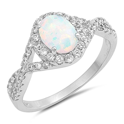 Opal Knot (White Simulated Opal Infinity Knot Halo Wedding Ring Sterling Silver Band Size 7)
