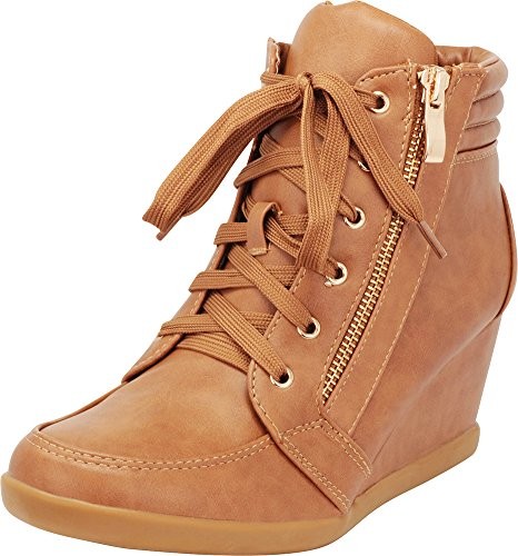 (Cambridge Select Women's Lace-Up Zipper Wedge Heel Fashion Sneaker (8 B(M) US, Tan PU))