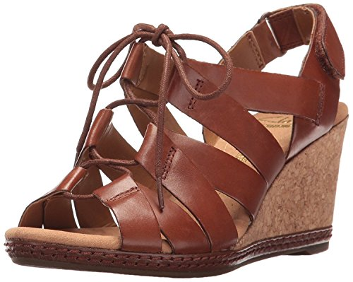 CLARKS Women's Helio Mindin Wedge Sandal, Tan Leather, 8.5 M US (Brown Sandals Leather)