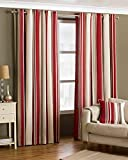 DAVENPORT RED CREAM STRIPED 117CM X 137CM COTTON BLEND RING TOP CURTAIN DRAPES Review