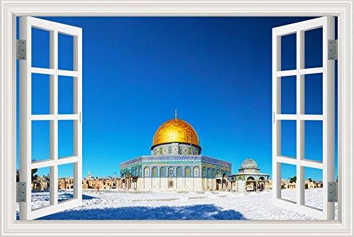 3D Window Scenery Winter Muslim Building Sticker Home Decal Vinyl Mural Art 24''X36'' by GreatHomeArt