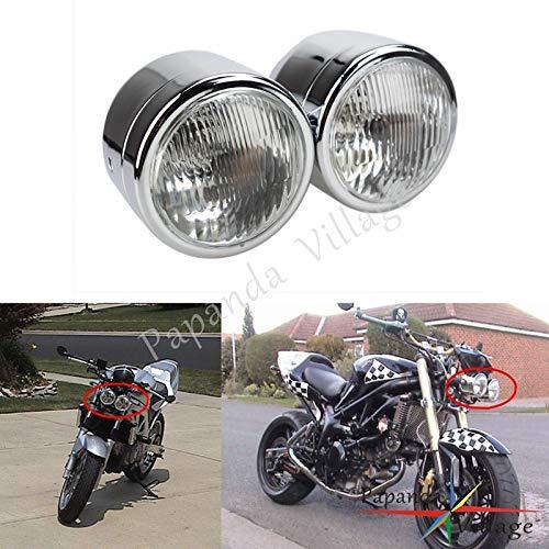 Motorcycle Chrome Twin 12V Headlight Billet Head Lamp Custom for Harley Dyna Cafe Racer Cruiser Bobber ()