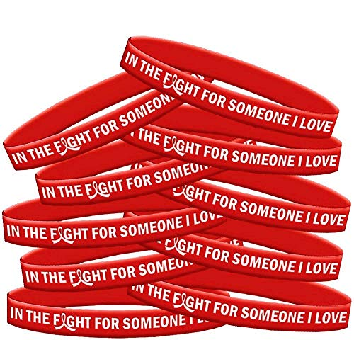 in The Fight for Someone I Love Heart Disease Stroke Wristband Bracelet 10-Pack (Red)