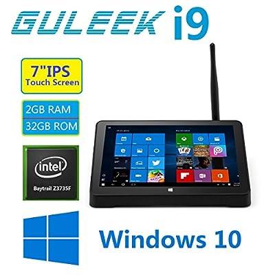 GULEEK i9 Tablet Mini PC Windows 10 Desktop Computer with 7 inch Ips Touch Screen Quad Core Intel Bay Trail Cr Atom Z3735F 2GB Ddr3l Ram 32GB Emmc Rom Wifi 2.4GHz Bluetooth 4.0