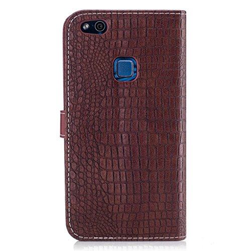 Trumpshop Smartphone Carcasa Funda Protección para Huawei P10 Lite [Dorado] Patrón de Piel de Cocodrilo PU Cuero Caja Protector Billetera Choque Absorción Marrón