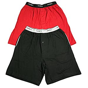 Hanes Mens Shorts with Logo Waistband 2-Pack (01005/010052X) -Biking Red -XL -2PK