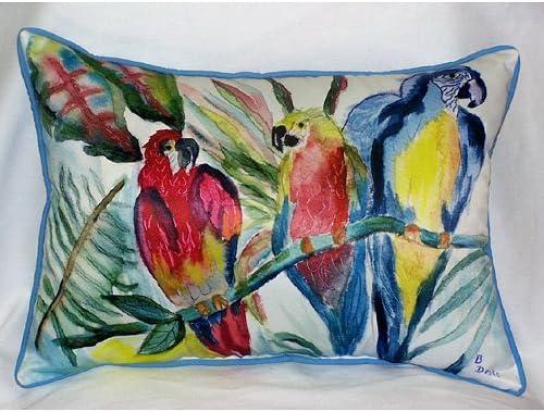 Betsy Drake HJ217 Parrot Family Art Only Pillow 15 x22