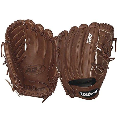 (Wilson 2016 A2K B212 Pitcher Baseball Glove, Walnut White Logos, Right Hand Thrower)