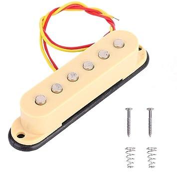 Dilwe Pastilla de Guitarra, Guitarra Electrica Bobina Simple Sonido Pickup Transductor de Audio para Parte de Reemplazo de Guitarra ST(Beige): Amazon.es: ...
