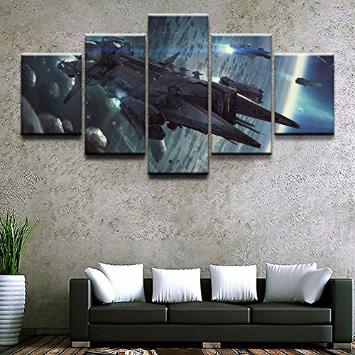 lzmlzm 5 Canvas Paintings 5 Pieces Canvas Painting Spaceship Star Citizen Wall Decor Picture Modern Canvas Print Home Decorative Wall Art Game Poster Frameless