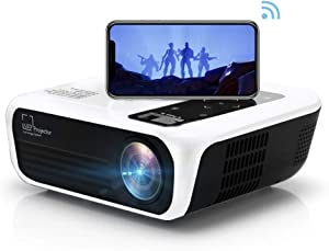 TVY WiFi Video Projector,Portable Native 1080P HD LED Movie Projector,5000 Lumens and 200'' Display with Wireless Synchronize Smartphone,Support Airplay Miracast,Compatible with HDMI,USB,AV(White)