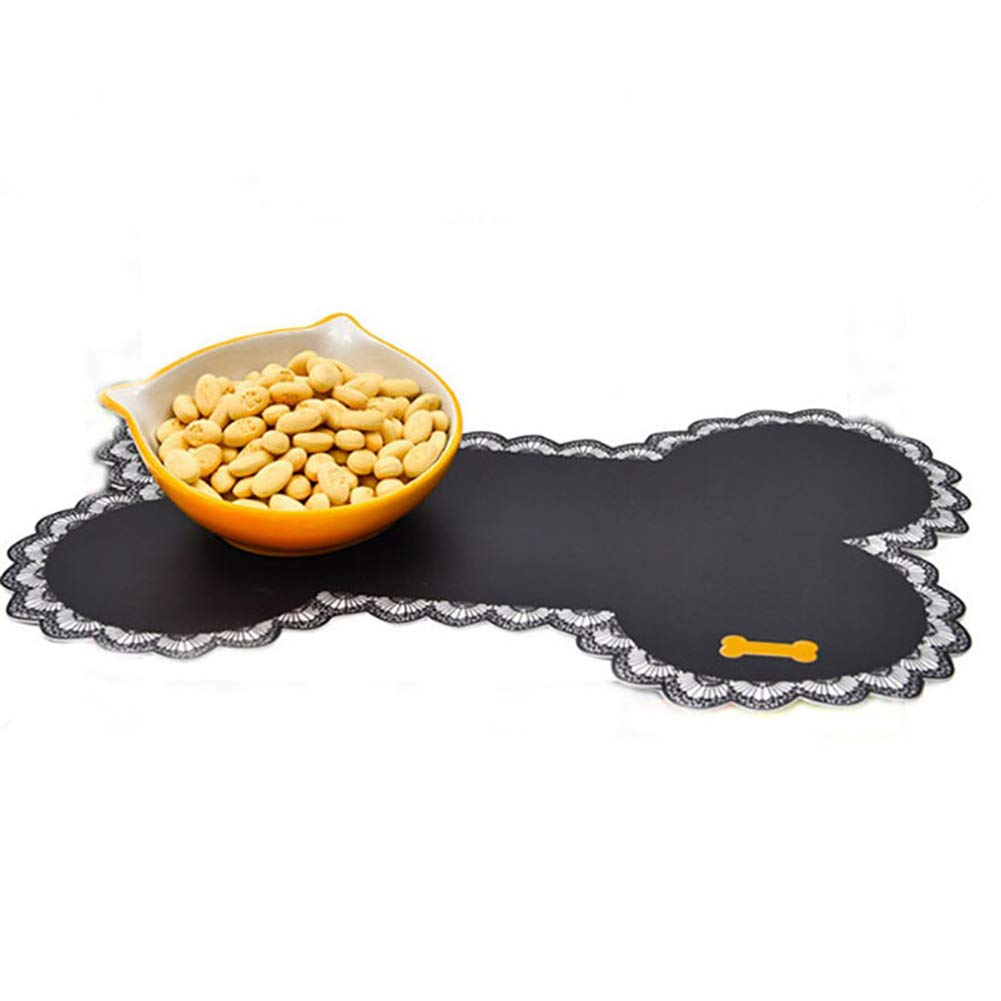 Pcongreat Comfortable And Beautiful Pet Supplies Dog Cat Bowl Mat Pad Bone Shape Food Container Water Bottle Pet Feeding Placemat - Black