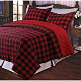 Western Red Buffalo Plaid Twin Quilt Set
