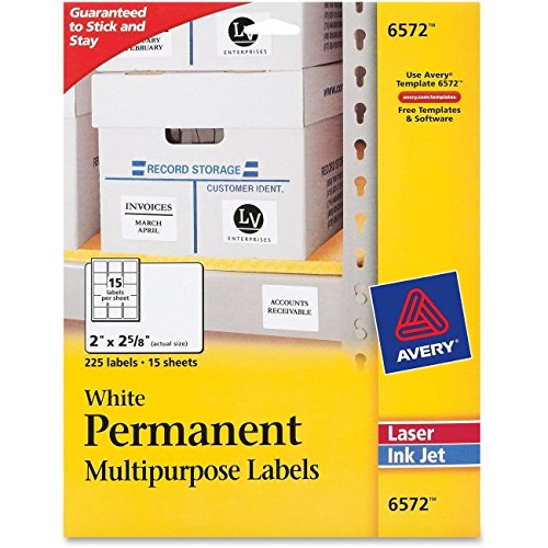 - Avery 6572 Permanent ID Labels Inkjet/Laser 2 x 2 5/8 White 225/Pack