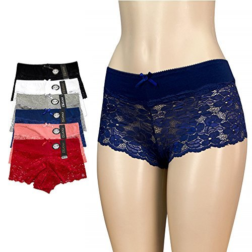 6pk Women's Cotton Spandex Hipster Boyshort Lace Trim Underwear Panties Sheer, Multi-color, Medium (A-line Maternity Shorts)