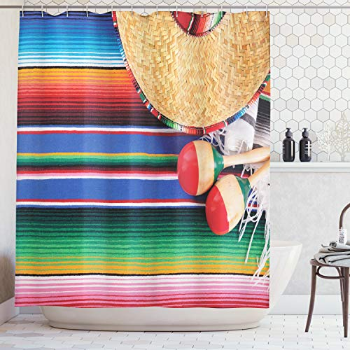 By Rug 05 Ivory (Ambesonne Mexican Decorations Collection, Mexican Artwork with Sombrero Straw Hat Maracas Serape Blanket Rug Image, Polyester Fabric Bathroom Shower Curtain, 84 Inches Extra Long, Green Blue Red Ivory)