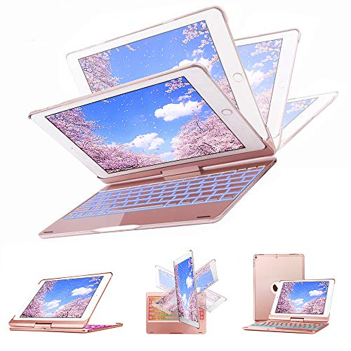 Keyboard Case 9.7 for New iPad 2018(6th)-iPad 2017(5th)-iPad Pro 9.7-iPad Air2-iPad Air 1,KIPIDA 360 Degree Rotation,7 Color Backlit,Wireless Bluetooth,iPad Case with Keyboard (9.7 Rose Gold)
