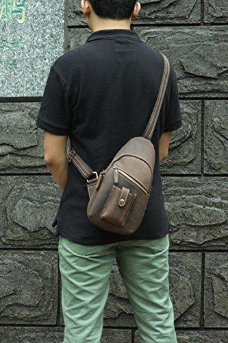 Modelshow Herren Freien Echtes Leder Daypacks Tasche Handtasche Umhängetasche Brusttasche (klein)