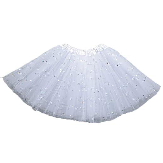 Ogquaton - Falda de tutú para niña, 3 capas de malla, lentejuelas ...