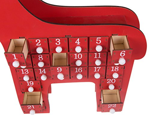 Red Reindeer Advent Calendar by Clever Creations | 24 Day Countdown to Christmas Calendar | Premium Décor | Painted Rudolph | Wood Construction | Cute Holiday Decoration | Measures 15'' x 2.75'' x 17.5'' by Clever Creations (Image #2)