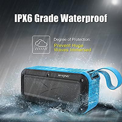 Portable Bluetooth Speaker Wireless Music Play Waterproof Crystal Clear Sound with Strong Bass IPX6 Water Resistant Dustproof Shockproof with FM Radio - Blue