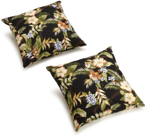 Blazing Needles Outdoor Spun Poly 20-Inch by 20-Inch by 6-Inch Throw Pillow, Freeport Ebony, Set of 2