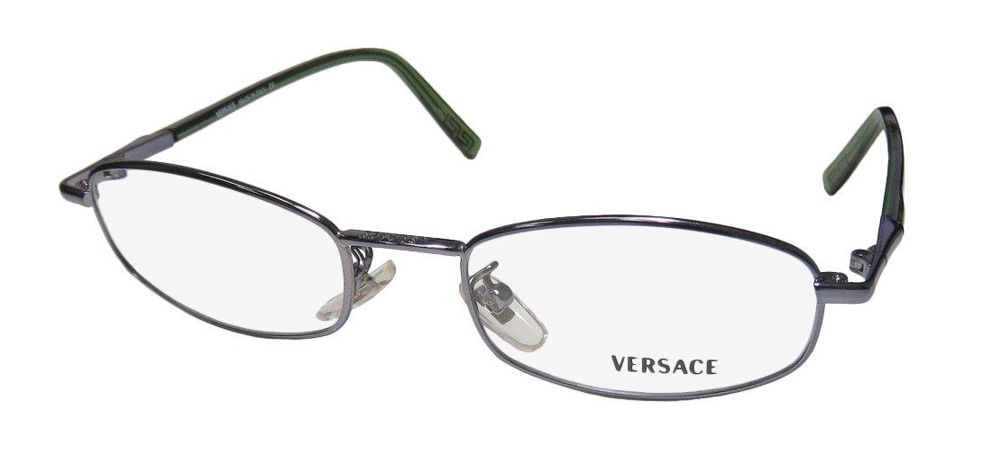 Versace M47 Womens/Ladies Designer Full-rim Classic Design Famous Eyeglasses/Eye Glasses (49-18-0, Slate/Transparent Green)