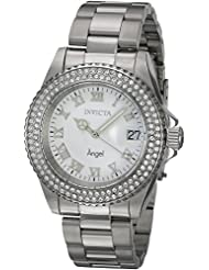 Invicta Womens Angel Quartz Stainless Steel and Leather Casual Watch, Color:Silver-Toned (Model: 20502)