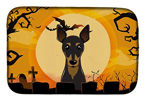 Caroline's Treasures BB1798DDM Halloween Min Pin Dish Drying Mat, 14