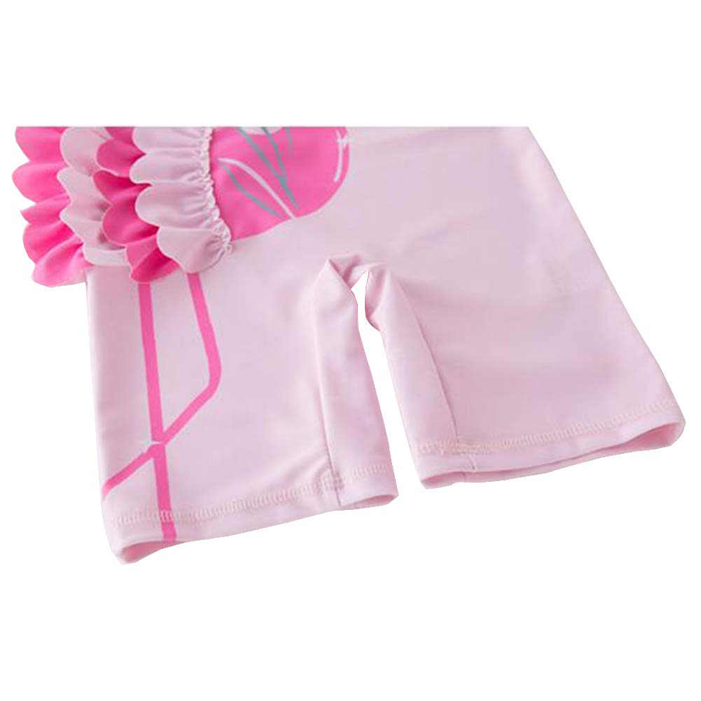 Zulaniu Baby Girls One-Piece Pink Swimwear Hat Rash Guard Sunsuit Swimsuit