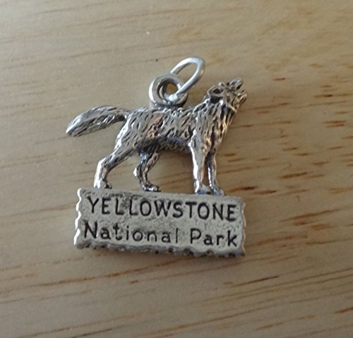 Sterling Silver 25x20mm Wolf standing sign says Yellowstone National Park Charm Jewelry Making Supply, Pendant, Charms, Bracelet, DIY Crafting by Wholesale (Yellowstone National Park Sign Charm)
