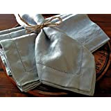 "Gray Linen Napkins Stonewashed 100% Linen Handmade Hemstitched Set of 4 18"" x 18"" Gray color napkins pre-wased linen napkins"