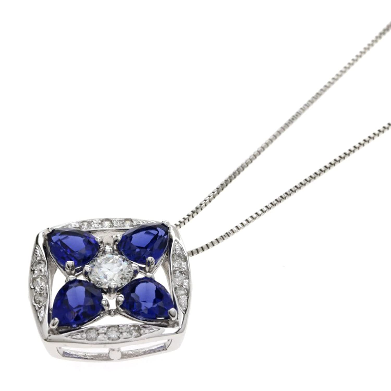 [セレクトジュエリー]サファイア/ダイヤモンド ネックレス K18ホワイトゴールド レディース (中古) B07DYJV9HV