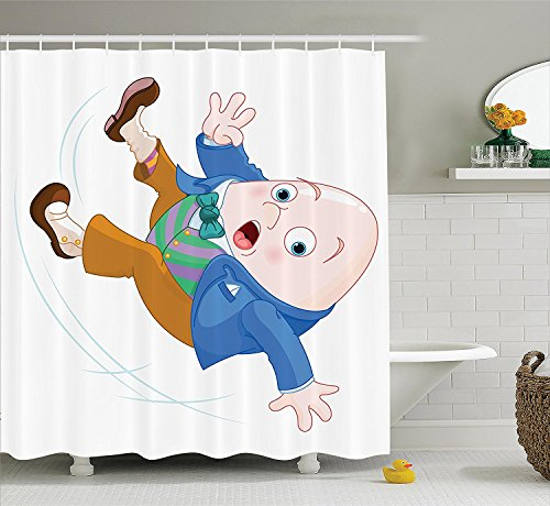 Alice in Wonderland Decorations Collection Humpty Dumpty Egg Fall Down Transformation Cartoon Egg Nursery Illustration Polyester Fabric Bathroom Shower Curtain Set with Hooks