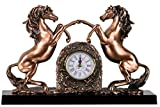 Twin Horse with Clock Sculpture