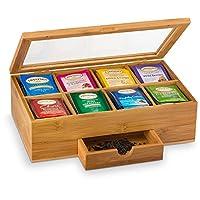 Natural Bamboo Tea Box Organizer with Small Drawer - Great Gift Idea. By Bambusi