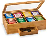 Tea Organizer Bamboo Tea Box with Small Drawer 100% Natural Bamboo Tea Chest - Great Gift Idea - By Bambusi
