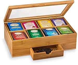Amazon Com Premium Bamboo Tea Box Organizer Natural
