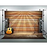 VVM Western Party Backdrop 7x5Ft Guitar Sound Wooden Wall Photography Backdrop Western Theme Adult Birthday Party Country Music Concert Decoration Kids Video Props PVV377