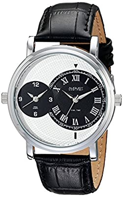 August Steiner Men's AS8146SSB Silver Dual Time Zone Swiss Quartz Watch with White Dial and Black Leather Strap