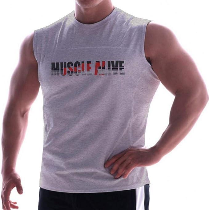 Hombres Esencial Músculo Sin Mangas Camiseta con Personal Cuello ...