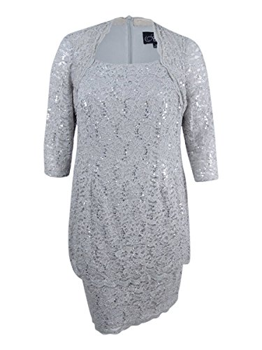 Alex Evenings Womens Plus Tiered Sequined Mother of The Bride Dress Gray 18W