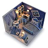 Blue Miniature DIY Wooden Dollhouse Mini Creative Room With Furniture, Accessories & Kits | Cute Elegant Dollhouse With Lights & Easy Assembly | Great Gift Idea for Birthdays,Collectors, Crafts & More