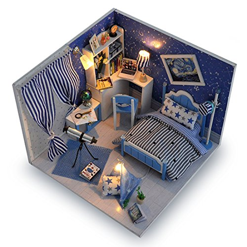 Miniature Doll Furniture - Blue Miniature DIY Wooden Dollhouse Mini Creative Room With Furniture, Accessories & Kits | Cute Elegant Dollhouse With Lights & Easy Assembly | Great Gift Idea for Birthdays,Collectors, Crafts & More