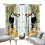 QianHe Room Darkening Curtains for Bedroom Save The Date Wedding Card Tropical Flowers