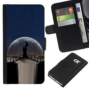 """Be-Star la tarjeta de Cr¨¦dito Slots PU Funda de cuero Monedero caso cubierta de piel Para Samsung Galaxy S6 EDGE (NOT S6) ( Moonlight Puente Cascada Mujer Sombra"""" )"""
