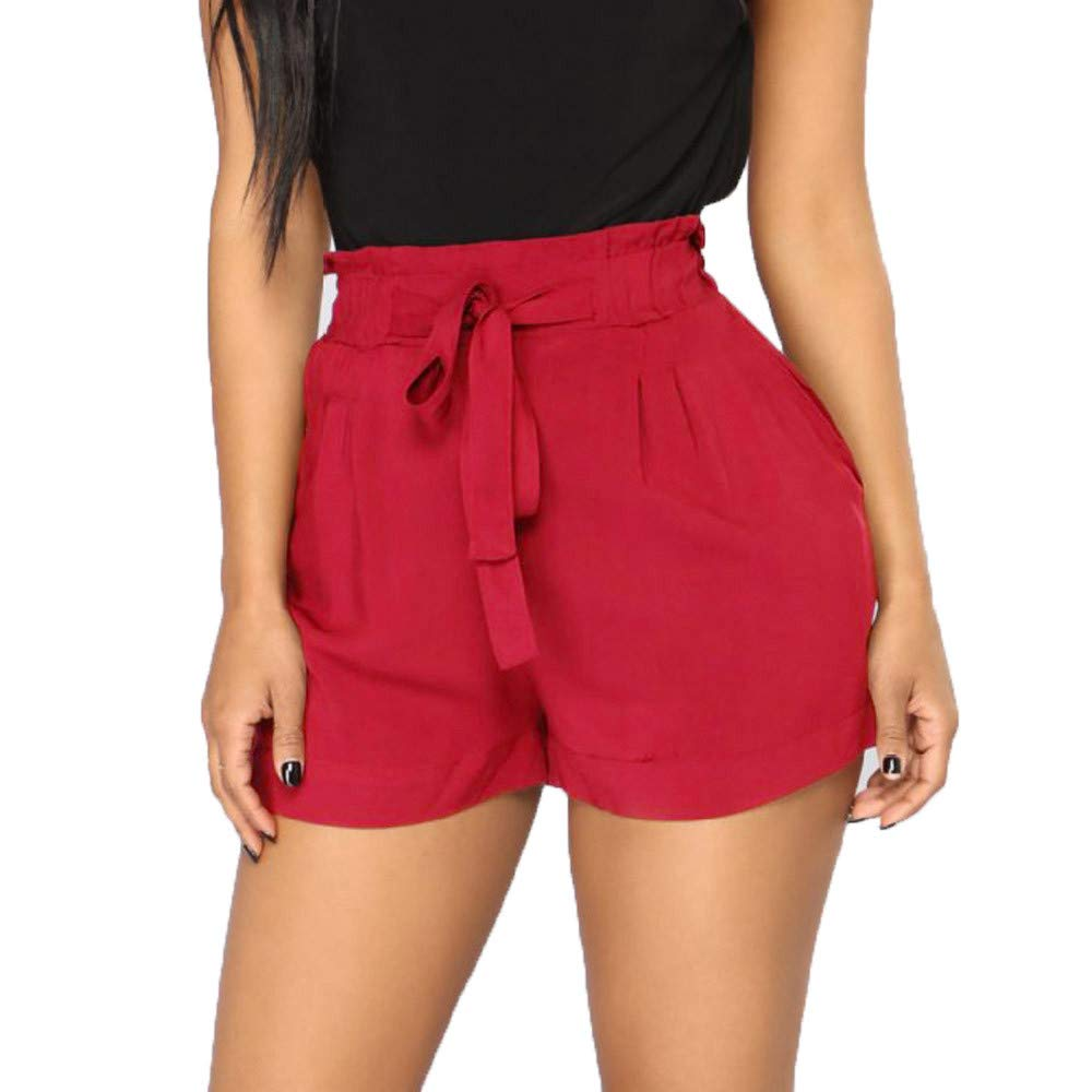 FarJing Women Retro Casual Fit Elastic Waist Pocket Shorts Pants High Waist String Pants Shorts (S,Wine)