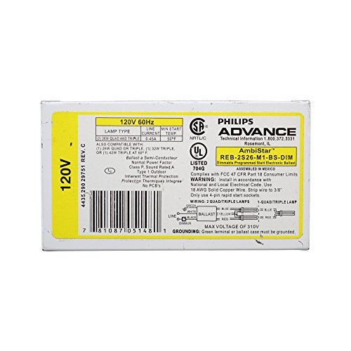 Advance REB-2S26-M1-BS Dimmable Electronic CFL Fluorescent Ballast 26W 2 Lamp
