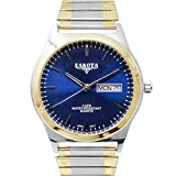 Dakota Easy to Read Unisex 35mm Large Face Day/Date Twist Stainless Steel Expansion Stretch Band Water Resistant Watch (Two-Tone with Blue Stick Dial)